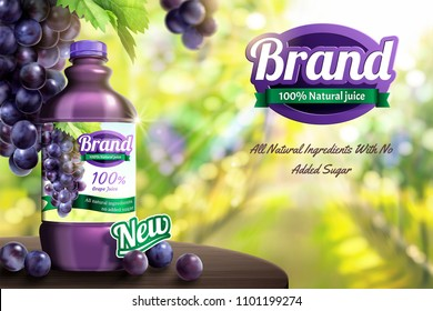 Grape bottled juice on wooden table in bokeh orchard scene in 3d illustration
