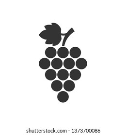 Grape fruits sign icon in flat style. Grapevine vector illustration on white isolated background. Wine business concept.