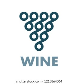 Grape. Hand drawn stylized bunch of grapes illustration. Wine theme symbol and logo.