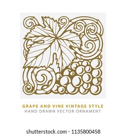 Grape. Hand drawn grape and vine engraving style illustrations set.  Bunch of grapes vector design element. Grape and vine logo and background.  Wine theme grape and vine vintage style ornament.