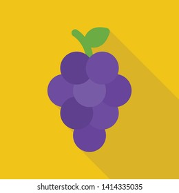grape icon in flat style with long shadow, isolated vector illustration on yellow transparent background