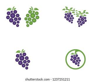 Grape icon logo design template