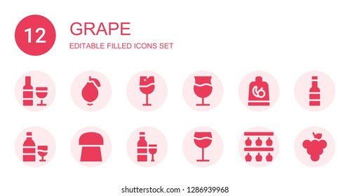 grape icon set. Collection of 12 filled grape icons included Wine, Guava, Fruit, Cork, Bottle rack, Grape