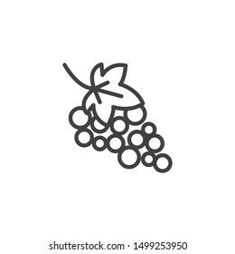Grape with leaves line icon. linear style sign for mobile concept and web design. Grape bunch outline vector icon. Symbol, logo illustration. Vector graphics