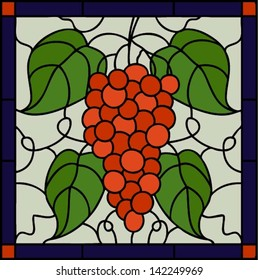 Grape with leaves in square frame in stained glass style, oriental motif,vector illustration, seamless pattern, tile design