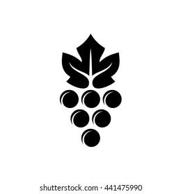 Grape logo. Violet grape berry with green leaf symbol. Wine sign. Black version.