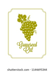 Grape logo of wine or oil. Grapeseed oil label on white background