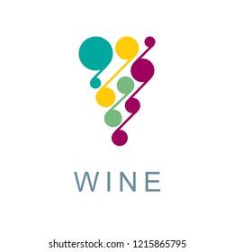 Grape. Stylized bunch of grapes illustration. Wine theme symbol and logo.