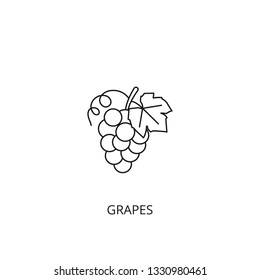 Grape vector icon, outline style, editable stroke