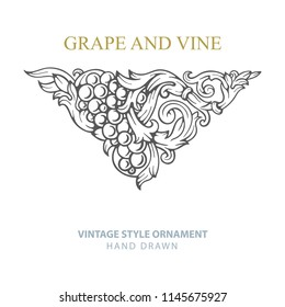 Grape and vine. Hand drawn grape and vine engraving style illustrations set. Bunch of grapes vector design element. Grape and vine logo and background. Wine theme grape and vine vintage style ornament