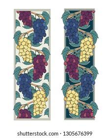 Grape vines vector illustration of decorative ornamental vignette borders set three sorts of muscat grape ripe fruits art nouveau decoration for design as botanical illustration