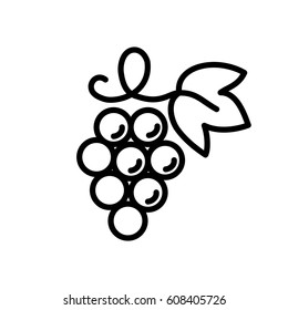 grape wine fruit with leaf line icon black on white