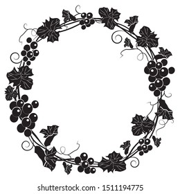 Grape wreath. Round black frame bunches of grapes. Vector illustration.