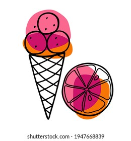 Grapefruit Ice Cream cone. Lemon fruit with ice cream ball in waffle cone. Hand drawn sketch with bright yellow backdrop. Citrus fruit slice and delicious frozen dessert. Vector Illustration.