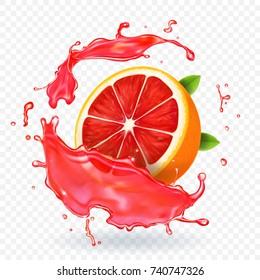 Grapefruit juice splash fruit fresh realistic icon