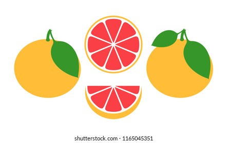 Grapefruit set. Isolated grapefruit on white background. EPS 10. Vector illustration