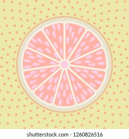 Grapefruit slice pop art style background vector cartoon illustration