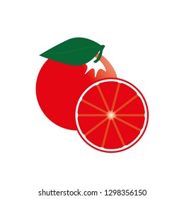 Grapefruit vector illustration.Pomelo isolated on white. Simple vector of grapefruit. Pomelo background texture.