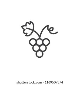 Grapes with grape leaf outline icon. linear style sign for mobile concept and web design. simple line vector icon. Symbol, logo illustration. Pixel perfect vector graphics