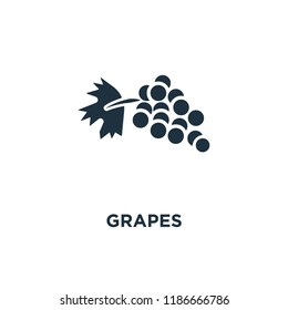 Grapes icon. Black filled vector illustration. Grapes symbol on white background. Can be used in web and mobile.