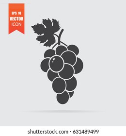 Grapes icon in flat style isolated on grey background. For your design, logo. Vector illustration.