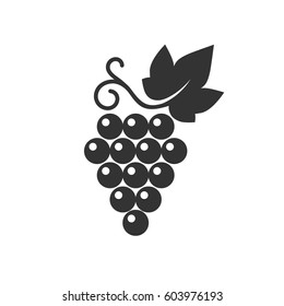 Grapes icon. Vector illustration of simple black logo with wine grape isolated on white.