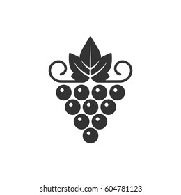 Grapes icon. Vector illustration of simple black symmetric logo with grape, isolated on white.