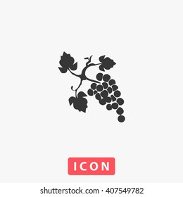 grapes Icon Vector. Simple flat symbol. Perfect Black pictogram illustration on white background.