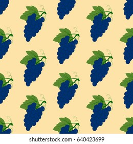 Grapes seamless pattern on the yellow background. Vector illustration