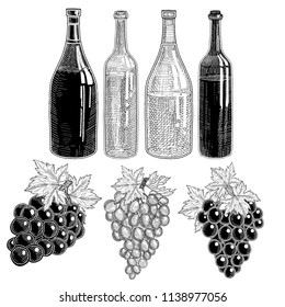 Grapes wine bottles with grap wine.