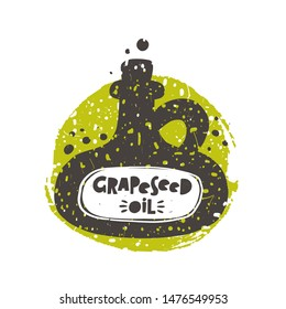 Grapeseed oil grunge style banner template. Organic oil in vintage glass bottle silhouette. Vegan nutrient, gourmet salad dressing lettering with splattered drops effect, promo poster design element
