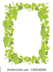 Grapevines plant frame A4 sheet banner. Rectangular border grape frame. Space place for text name or logo. Vector flat Illustration. Grapes green leaves. Copy space.