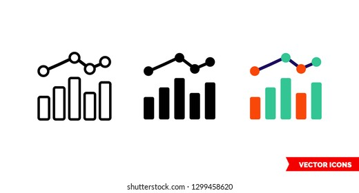 Graph bar chart icon of 3 types: color, black and white, outline. Isolated vector sign symbol.