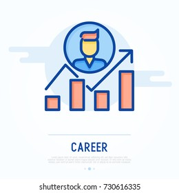 Graph of career growth with arrow. Thin line vector illustration of business development.