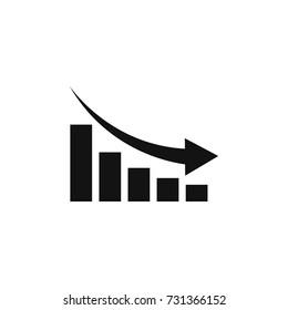 Graph chart down icon. Down arrow symbol. Flat Vector illustration.