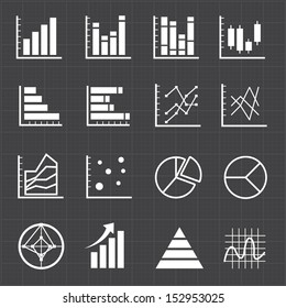 Graph chart icons and black background