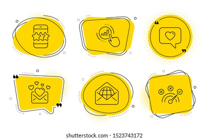 Graph chart, Love mail and Correct answer signs. Chat bubbles. Web mail, Star and Love message line icons set. World communication, Phone feedback, Dating service. Get report. Technology set. Vector