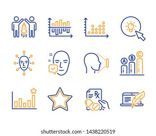Graph chart, Prescription drugs and Face accepted icons simple set. Partnership, Diagram chart and Dot plot signs. Efficacy, Energy and Face id symbols. Star, Copyright laptop. Line graph chart icon
