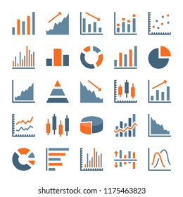 Graph and chart related flat icons. Statistics, growth and pie chart icon set. Stats and diagram vector illustration.