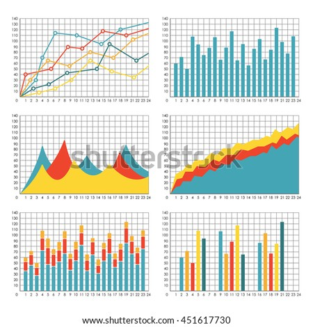 graph chart template set graphics statistic stock vector royalty
