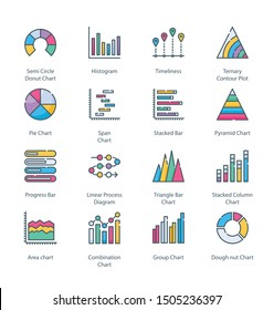 Graph And Diagram Flat Colored Line Icons - Fully Editable