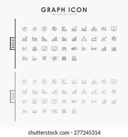 graph and diagram on bold and thin line icons concept