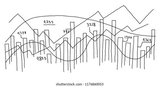 Graph diagram sketch. Infographic freehand line.