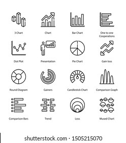 Graph And Diagram Thin Line icons - Editable Stroke