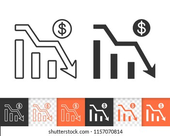 Graph down black linear and silhouette icons. Thin line sign of bankrupt. Arrow below outline pictogram isolated on white transparent background. Vector Icon shape. Graph Down simple symbol closeup