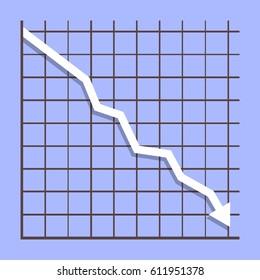 Graph down income arrow. Negative chart