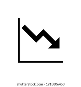 Graph down, reduce progress glyph icon. Simple solid style efficiency decrease graphic, finance chart, abstract graph, trend vector illustration. Arrow below, bankrupt. EPS 10