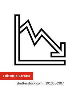 Graph down, reduce progress line icon. Simple outline style efficiency decrease graphic, finance chart, abstract graph, trend vector illustration. Arrow below, bankrupt. Editable stroke EPS 10
