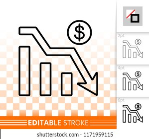 Graph Down thin line icon. Outline web sign of bankrupt. Arrow Below linear pictogram different stroke width. Simple vector symbol, transparent background. Graph Down editable stroke icon without fill