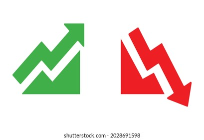 Graph going Up and Down sign with green and red arrows vector. Flat design vector illustration concept of sales bar chart symbol icon with arrow moving down and sales bar chart with arrow moving up.